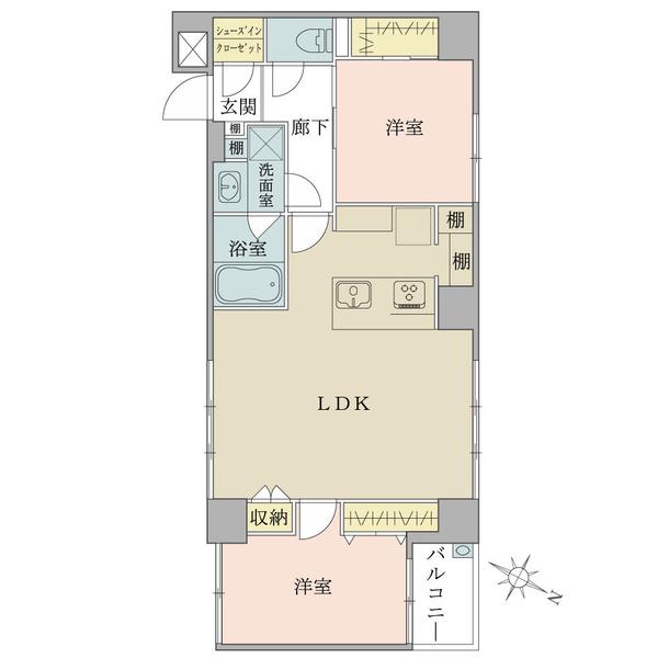 東建ニューハイツ市ヶ谷の間取図/3F/4,680万円/2LDK/57.67 m²