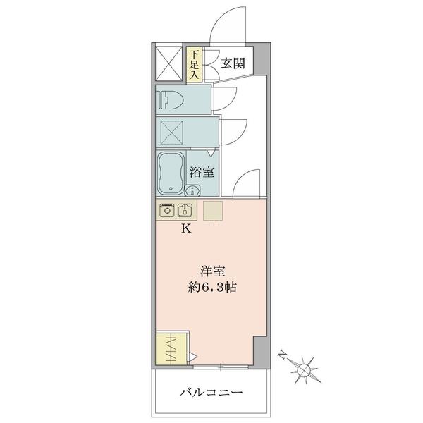 東建ニューハイツ西新宿 の間取図/4F/1,880万円/1R/21.06 m²