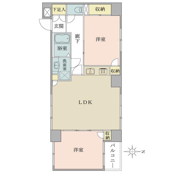 東建ニューハイツ市ヶ谷の間取図/5F/4,300万円/2LDK/57.67 m²