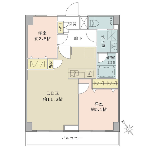 東建ニューハイツ西新宿 の間取図/7F/4,180万円/2LDK/48.36 m²