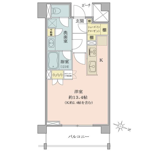 アールヴェール笹塚の間取図/2F/3,480万円/1R/35.38 m²