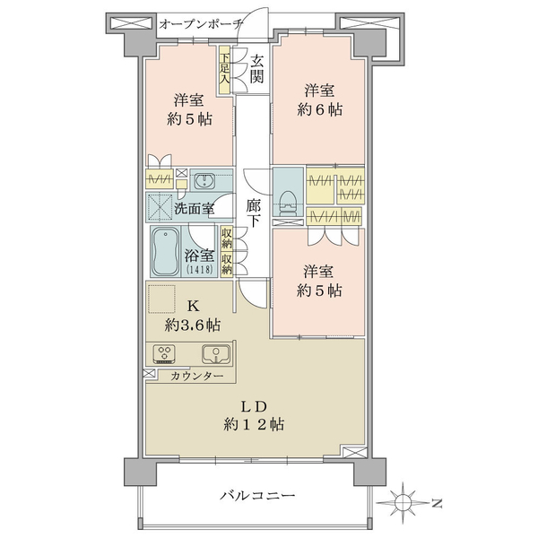 ブリリア小金井桜町の間取図/3F/4,790万円/3LDK+STC/71.57 m²
