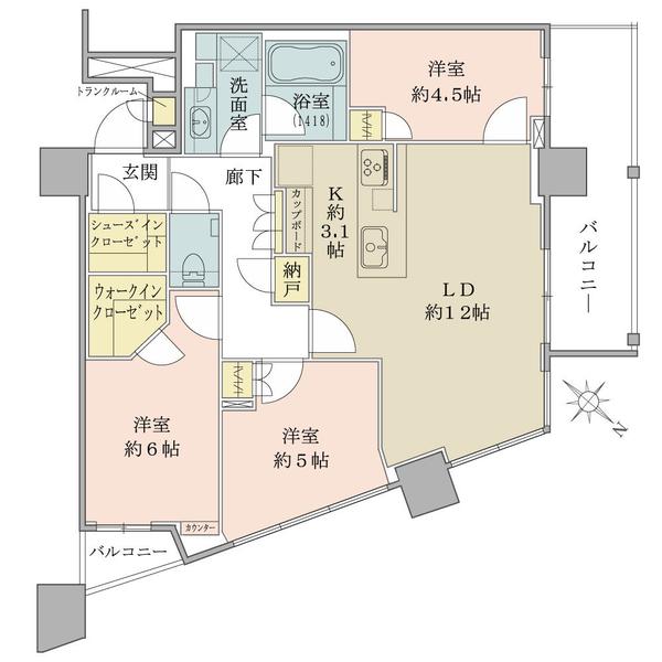 ブリリアザタワー東京八重洲アベニューの間取図/21F/12,300万円/3LDK+WIC/72.59 m²