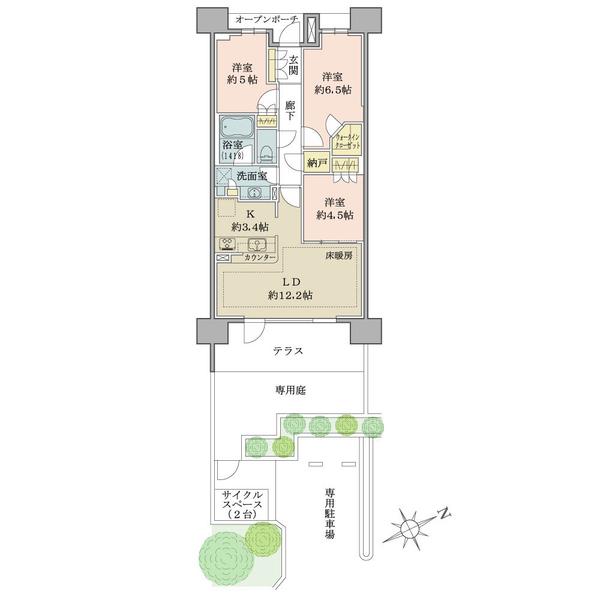 ブリリアシティひばりが丘の間取図/1F/2,980万円/3LDK+N+WIC/70.59 m²