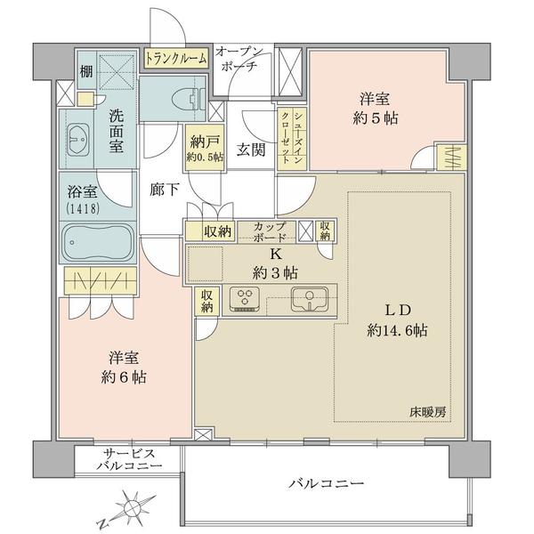 Brillia西荻窪(ブリリア西荻窪)の間取図/3F/5,780万円/2LDK+N/66.97 m²