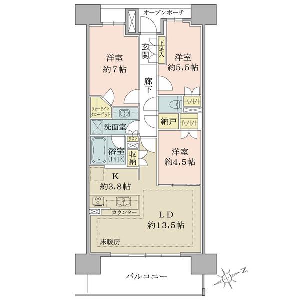 ブリリアシティひばりが丘の間取図/10F/2,890万円/3LDK+N+WIC/75.52 m²