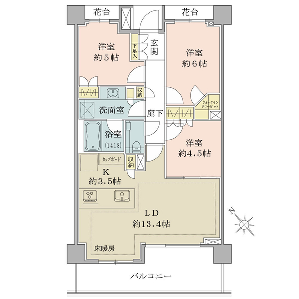 Brillia早稲田諏訪通りの間取図/3F/8,180万円/3LDK+WIC/72.45 m²