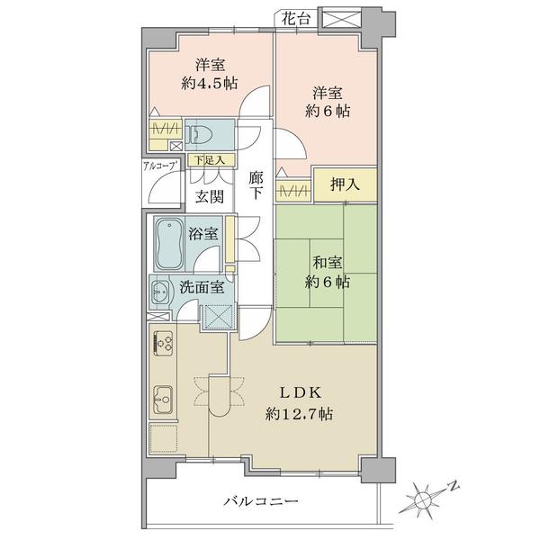 アールヴェール吉祥寺南の間取図/5F/3,580万円/3LDK/65.19 m²