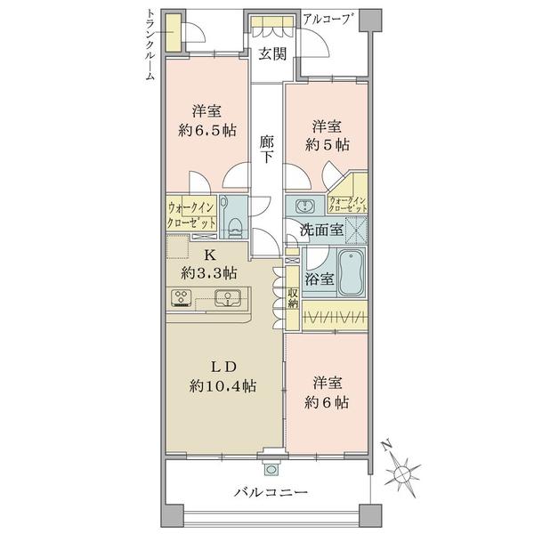武蔵野レジデンシアの間取図/2F/6,680万円/3LDK+2WIC/74.42 m²