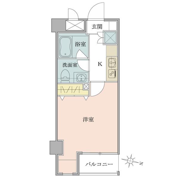 4階部分1Kタイプ。バス・トイレ別。2口コンロ付システムキッチン。