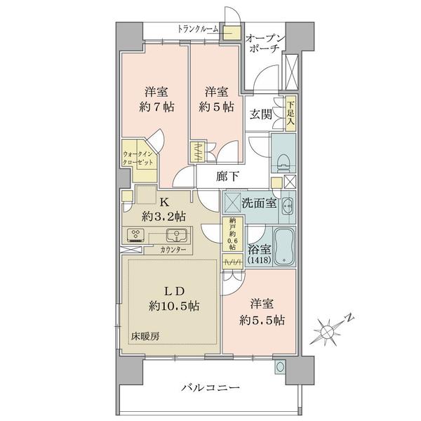 ブリリア・エルシオ萩山の間取図/9F/3,030万円/3LDK+WIC/72 m²