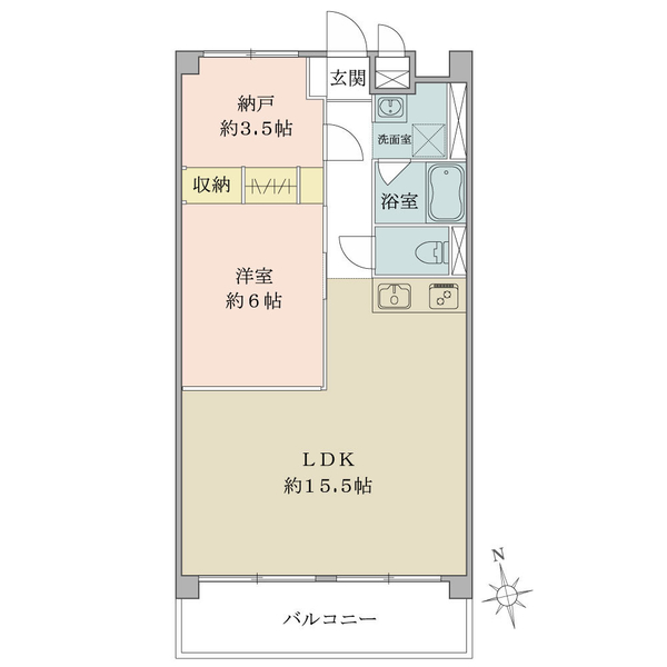 東建中村橋マンションの間取図/2F/2,280万円/1LDK+N/54 m²