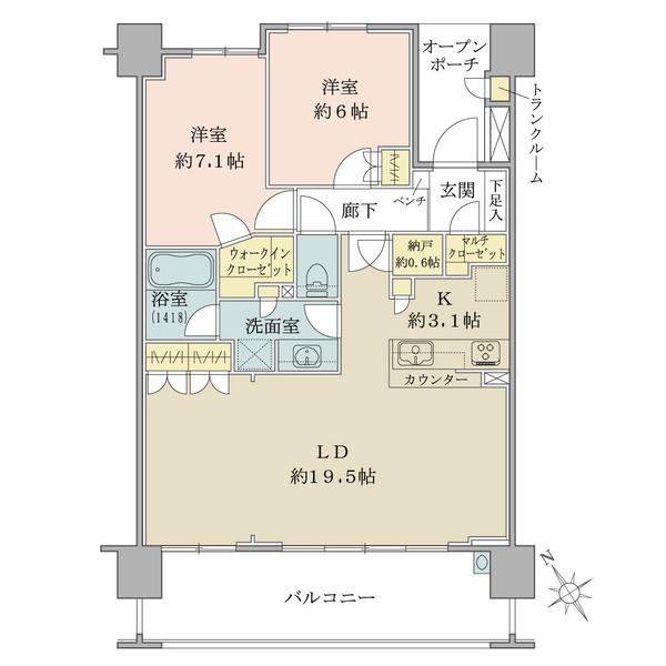 ブリリア・エルシオ萩山の間取図/2F/3,080万円/3LDK+WIC+MC/78.73 m²