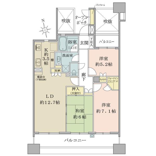 ラトリエ吉祥寺の間取図/7F/4,780万円/3LDK+WIC/77 m²