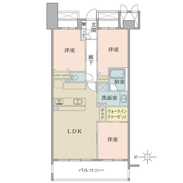 グランソシエ国立ウエストウイングの間取図/3F/3,990万円/3LDK/72.69 m²
