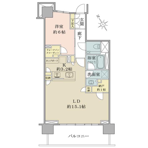Brillia早稲田諏訪通りの間取図/3F/6,680万円/1LDK+WIC/59.17 m²