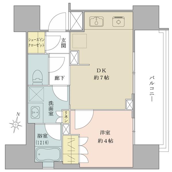 Brillia東中野ステーションフロントの間取図/9F/4,100万円/1DK/30.73 m²