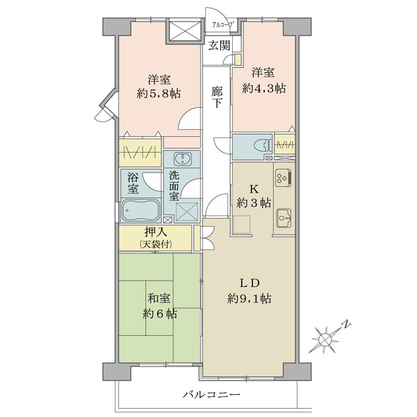 東建ニューハイツ拝島の間取図/4F/1,680万円/3LDK/64.45 m²