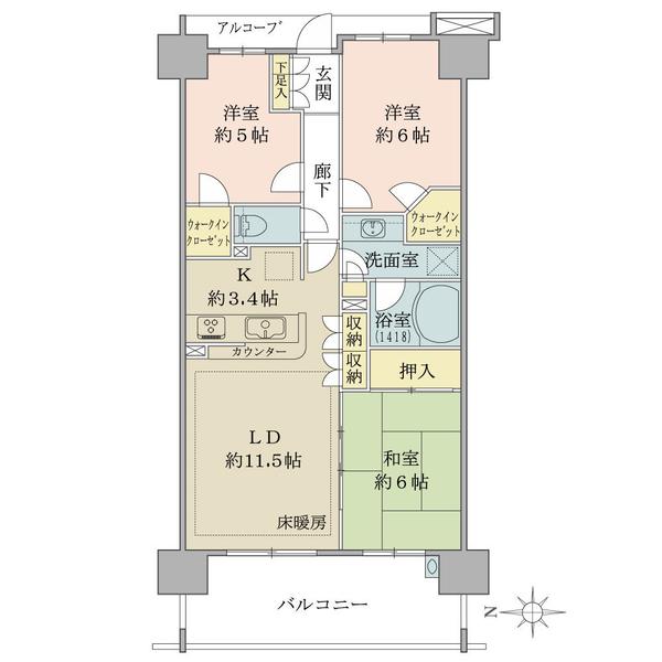 ココロコス東京久米川ケヤキ街区の間取図/8F/2,580万円/3LDK+2WIC/70.43 m²