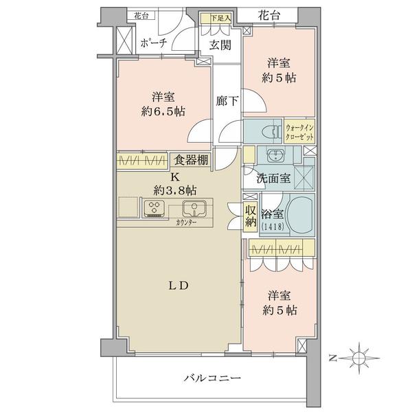 ブリリア新宿中落合の間取図/2F/5,500万円/3LDK+WIC/72.69 m²