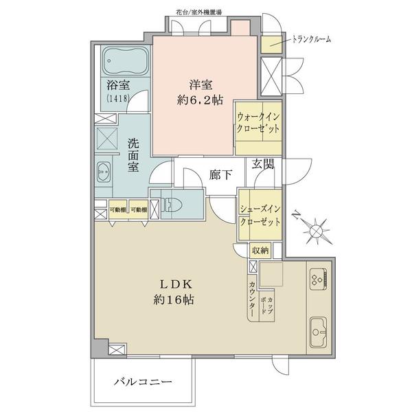 グランヴェール六義園の間取図/3F/5,780万円/1LDK/57.66 m²