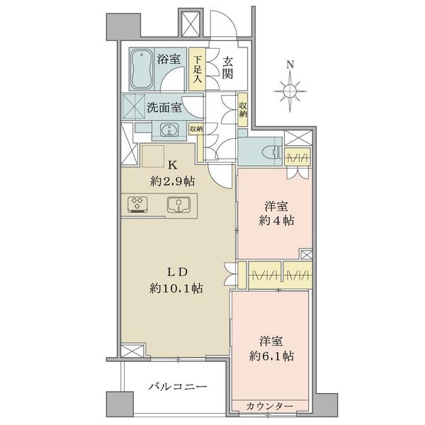 Brillia中野の間取図/3F/5,790万円/2LDK/56.53 m²