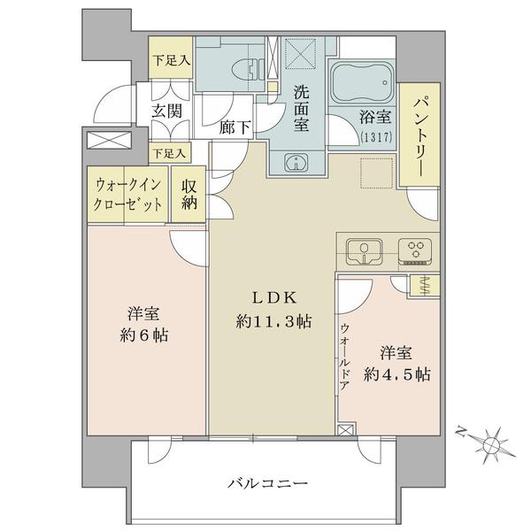 Brillia東中野ステーションフロントの間取図/3F/6,300万円/2LDK/54.24 m²