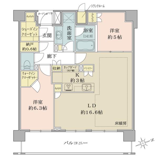 Brillia西荻窪(ブリリア西荻窪)の間取図/6F/7,180万円/2LDK+N/72.95 m²