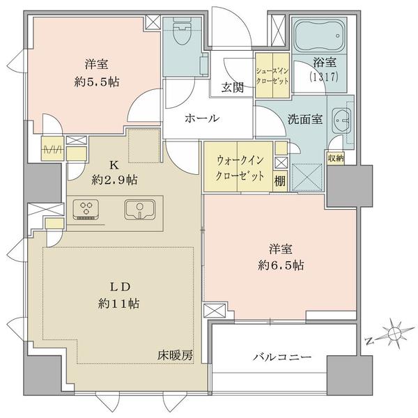 ブリリア砧公園の間取図/4F/4,980万円/2LDK+WIC+SIC/61.5 m²
