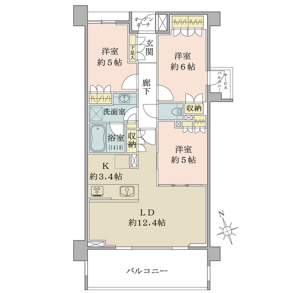 ブリリア浜田山の間取図/3F/7,180万円/3LDK/70.35 m²