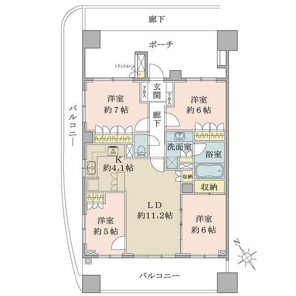 ブリリア調布国領の間取図/10F/5,180万円/4LDK/86.46 m²