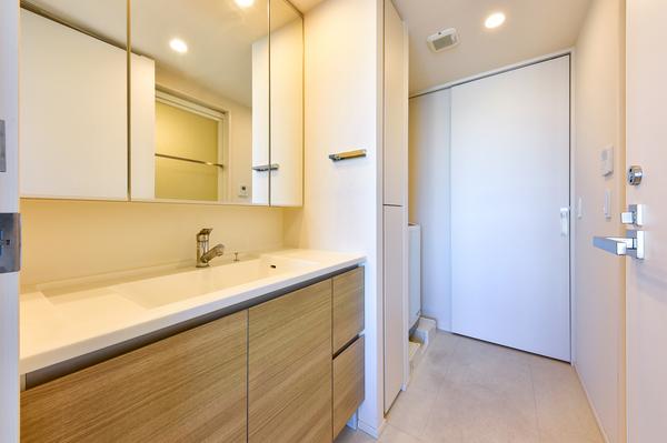 洗面室(ウォークスルータイプ)/背面収納付三面鏡/(洋室側扉からの写真)