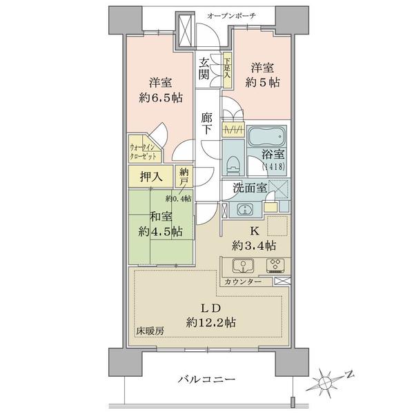 ブリリアシティひばりが丘の間取図/13F/2,980万円/3LDK+N+WIC/70.59 m²