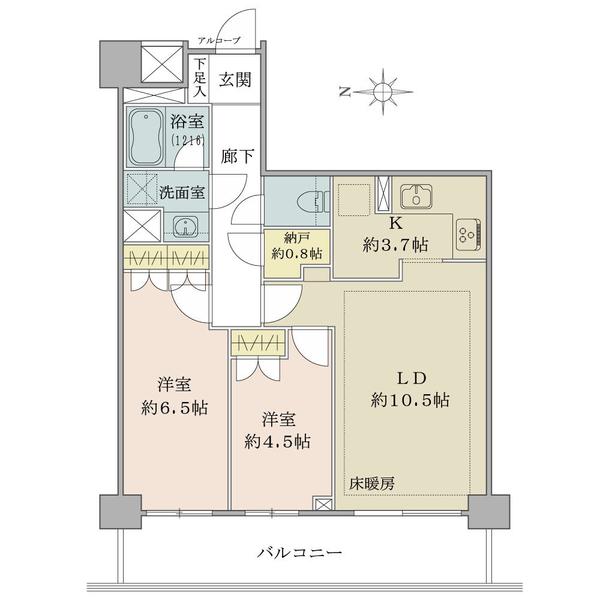 シエン・コンドミニオの間取図/5F/4,880万円/2LDK+N/58.14 m²