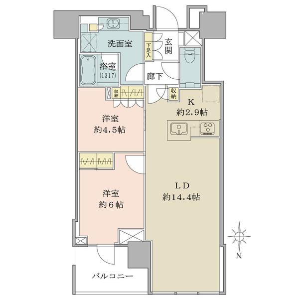 ブリリアタワー代々木公園クラッシィの間取図/14F/12,800万円/2LDK/63.93 m²