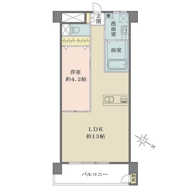 東建柏木マンションの間取図/14F/2,980万円/1LDK/45.8 m²