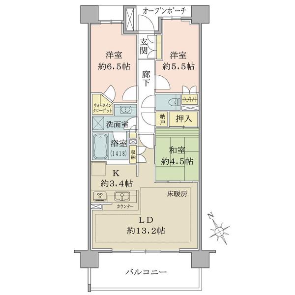 ブリリアシティひばりが丘の間取図/2F/2,990万円/3LDK+N+WIC/73.06 m²