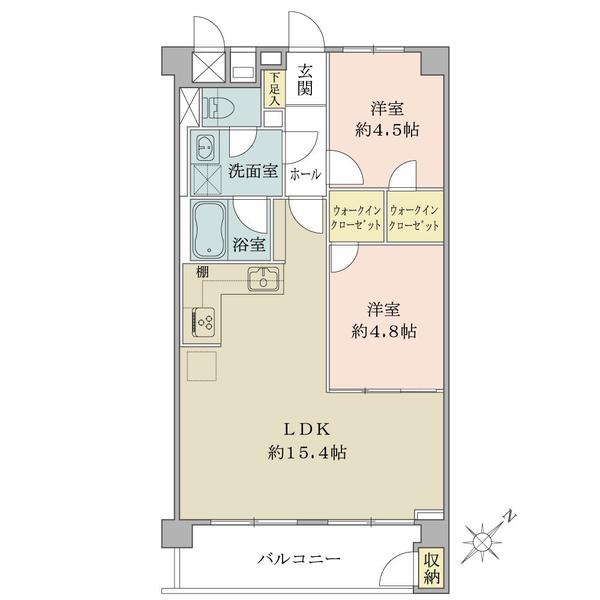 東建柏木マンションの間取図/11F/4,590万円/2LDK/55 m²