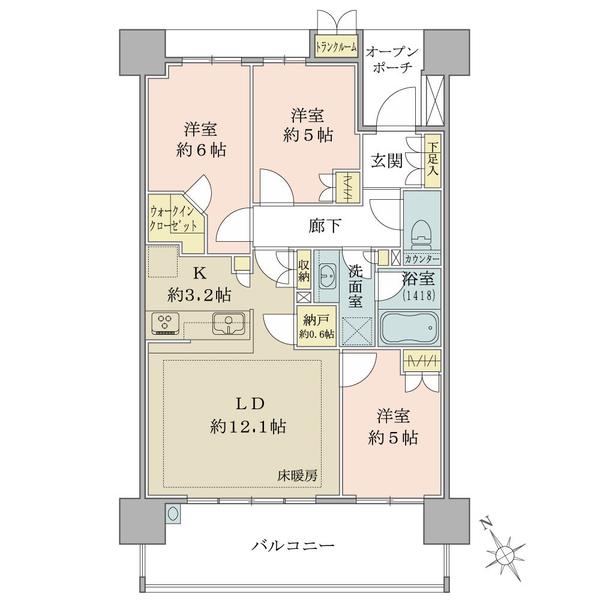 ブリリア・エルシオ萩山の間取図/11F/3,030万円/3LDK+WIC+TR/71.6 m²