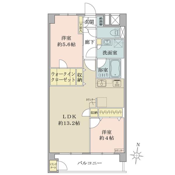 東建柏木マンションの間取図/8F/4,298万円/2LDK+WIC/55 m²
