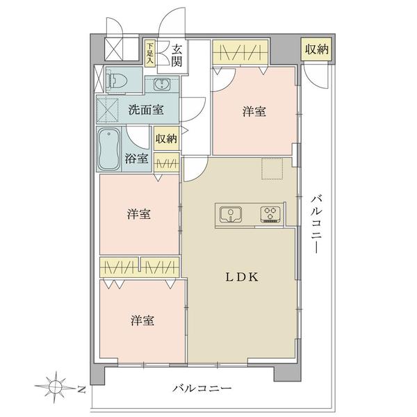 東建柏木マンションの間取図/5F/4,799万円/3LDK/65 m²