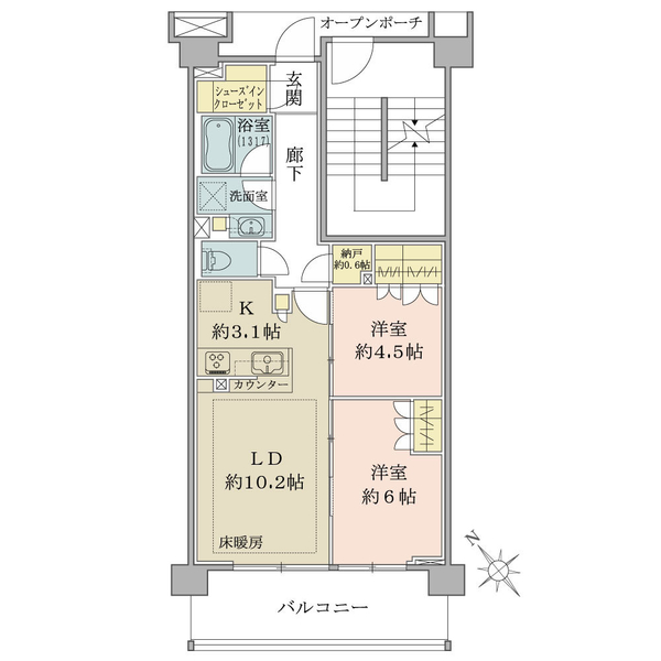 BrilliaCity石神井台の間取図/5F/4,380万円/2LDK+SIC+N+HJ/59.82 m²
