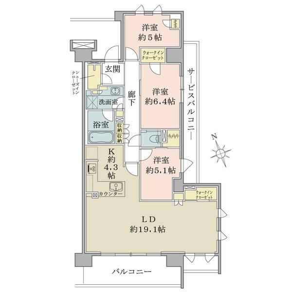ブリリアシティ三鷹の間取図/7F/6,890万円/3LDK+3WIC+SIC/92.14 m²