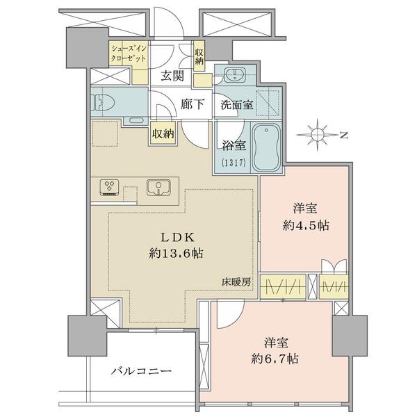 ブリリアタワー代々木公園クラッシィの間取図/13F/10,800万円/2LDK+SIC/58.66 m²