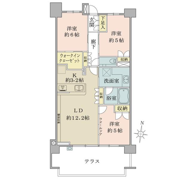 ブリリア久我山の間取図/1F/6,680万円/3LDK+WIC/71.63 m²