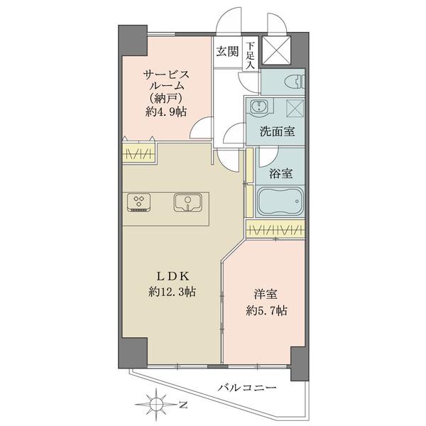 東建島津山南ハイツの間取図/10F/4,980万円/1LDK+S/51.53 m²