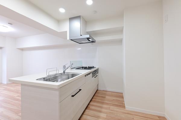 オープンカウンター式のシステムキッチン(3口ガスコンロ・グリル/食洗器付です)