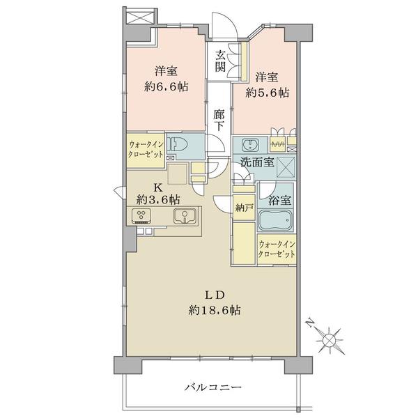 ブリリアシティ石神井台の間取図/9F/6,480万円/2LDK/78.64 m²