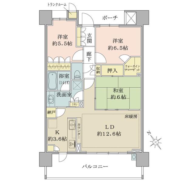 ブリリアエルシオ萩山の間取図/4F/2,980万円/3LDK+WIC+N/76.65 m²