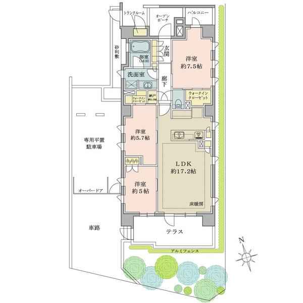 ブリリア西荻窪の間取図/1F/7,950万円/3LDK+N+2WIC/79.26 m²